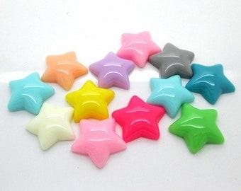 Star embellishments, resin flatback shapes, set of 30