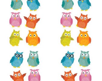 Chubby Owls Stickers, 2 Sheets, childrens stickers, paper craft