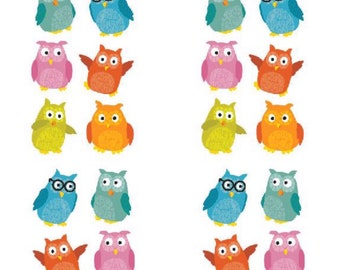 Chubby Owls Stickers, 2 Sheets