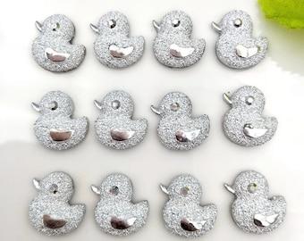 Duck rhinestone resin embellishments, 13mm