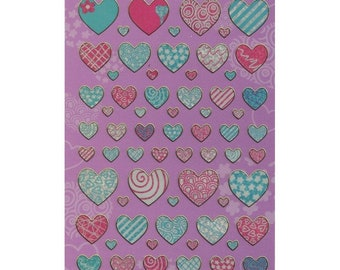 Patterned Hearts Sticker Sheet