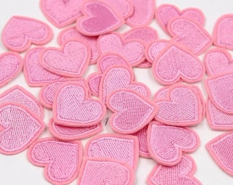 Pink embroidered heart patches x 2
