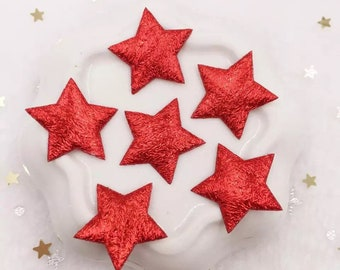 Red metallic fabric stars, 2cm
