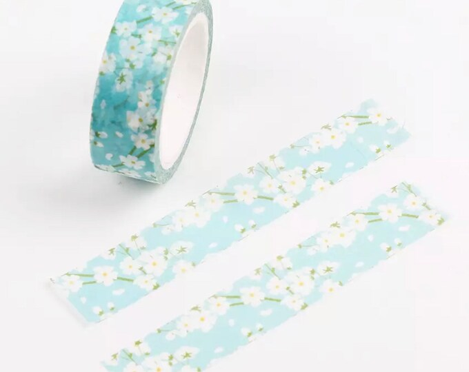 Featured listing image: Blue flowers Japanese washi tape roll, 7m