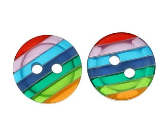 Rainbow striped round buttons, set of 10