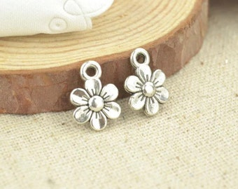 Silver antique style flower charms x 6