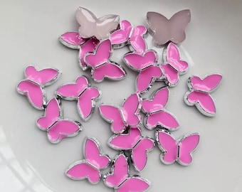 Pink resin butterfly cabochons, 12mm