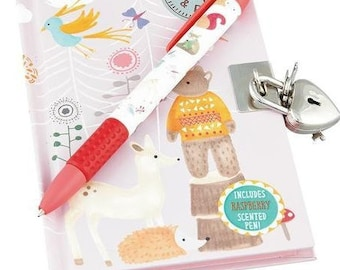 Woodland Animals lockable Notebook and Scented Pen set