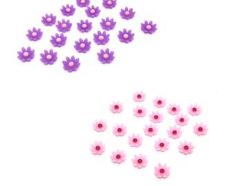 Mini flower embellishments, 8mm purple or pink