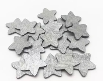 Silver wooden star embellishments, 18mm