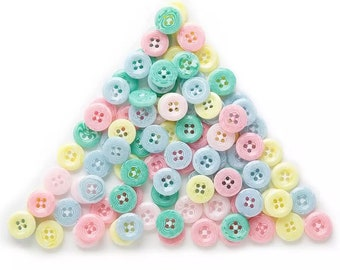 Pastel mixed round buttons, 13mm acrylic