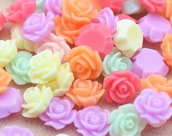 Flower cabochons, mixed pastel colour roses