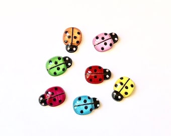 Ladybird acrylic embellishments, set of 20