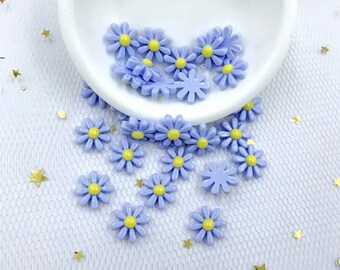 Daisy cabochons, 12mm blue flower