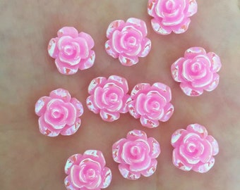 Pink rose flower cabochon, 12mm
