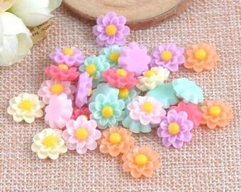 Pastel flower cabochons mix colour, 12mm