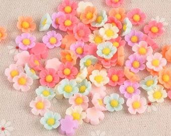 Pastel 3D flower embellishments, 10mm