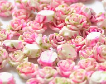 Pink and green flower cabochons, 10mm