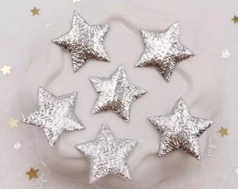 Silver metallic stars, fabric stars, 2cm