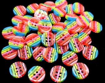 Rainbow pastel striped round buttons, 12mm