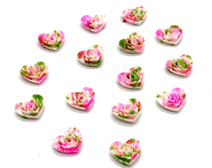 Featured listing image: Heart cabochons, painted effect, set of 15