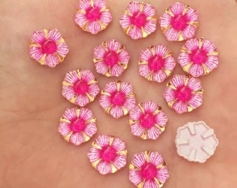 Pink flower cabochons, 12mm