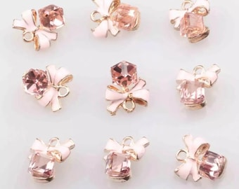 Pink Bow and crystal charms x 2