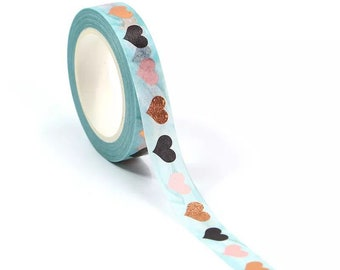 Blue hearts washi tape, metallic washi