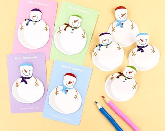 Snowman mini sticky notes, Christmas sticky notes, snowman memo pad, cute xmas stationery, snowman note pad, novelty stationery, 1pcs