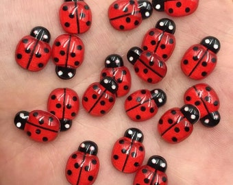 Ladybird resin cabochons, red
