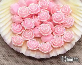 Pink rose flower cabochon, 10mm