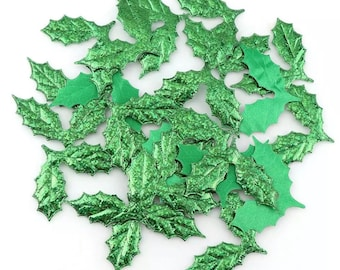 Green fabric leaf embellishments