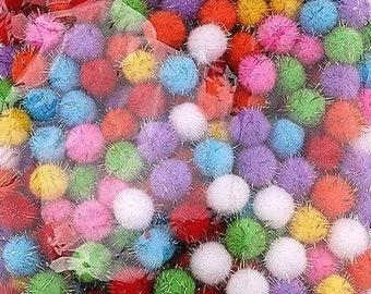 Pom Poms, glittery mini pom poms