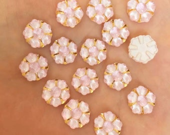 Pale pink flower embellishments, 12mm resin