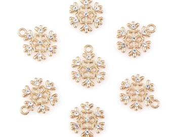 Snowflake charms x2, gold tone