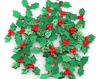 Holly fabric embellishments, deep green