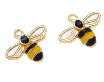 Bee charms x 2, enamel charms