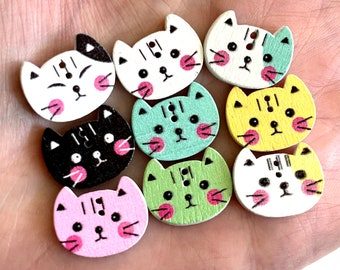 Cat Wooden Buttons, 15mm size