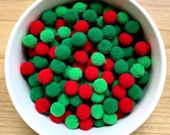 Pom Poms, mini pom poms, Christmas 10mm