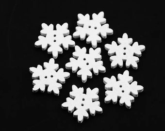 Snowflake white wooden buttons, 18mm