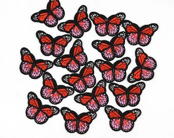 Red butterfly patches x2