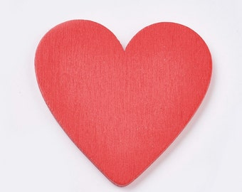 Red wooden heart embellishments, 48mm