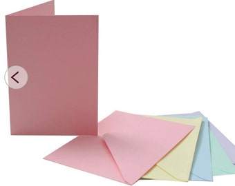 Cards with envelopes, C6, selection of colours