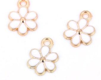 White enamel flower charms, 15mm