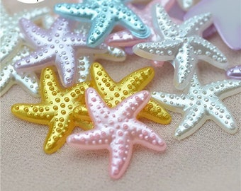 Starfish cabochons, pastel starfish