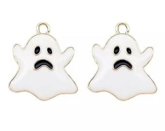 Ghost enamel charms x 2