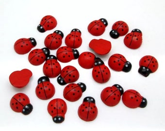 Ladybird wooden cabochons, 15mm, set of 15