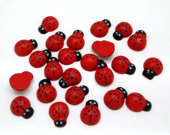 Ladybird cabochons, 15mm, set of 15