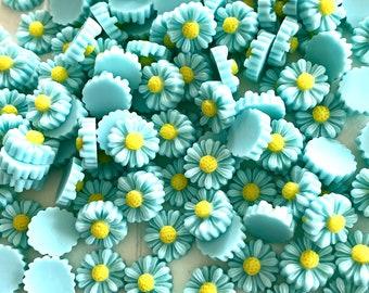 Green daisy embellishments, 11mm resin  flowers