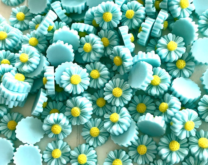 Featured listing image: Green daisy embellishments, 11mm resin  flowers